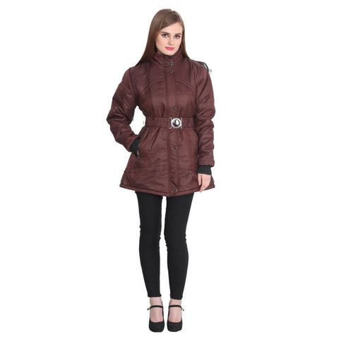 TeeMoods Long Dark Brown Winter Jacket  for Women
