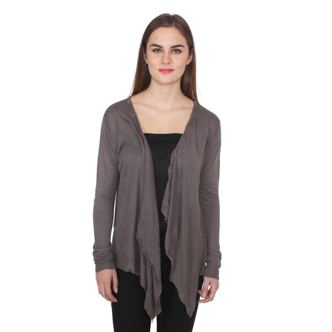TeeMoods Full Sleeves Grey Woollen Shrug-2