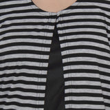 TeeMods High Low Black and Grey Striped Shrug-5