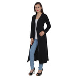 TeeMoods Open Front Long Black Shrug for Women-3
