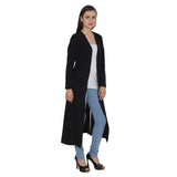 TeeMoods Open Front Long Black Shrug for Women-2