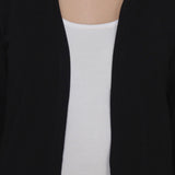 TeeMoods Open Front Long Black Shrug for Women-5