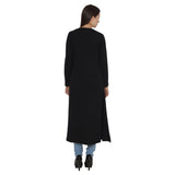 TeeMoods Open Front Long Black Shrug for Women-4