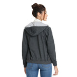 Back side of Model wearing TeeMoods women's fleece Dark Grey hoodie showing the hood with contrast lining