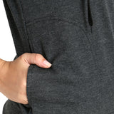 Pocket view of TeeMoods women's fleece Dark Grey hoodie