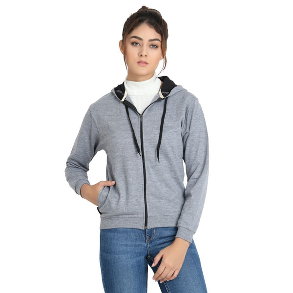 model relaxing in Teemoods Womens Full Zip Light Grey Hoodie