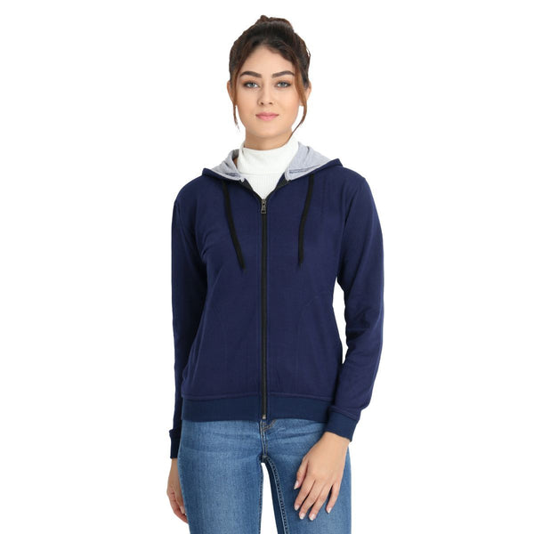 Frontal image of model wearing Teemoods Womens Fleece Full Zip Navy Blue Hoodie