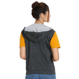 Back view of Teemoods Women's Sleeveless Dark Grey Hoodie