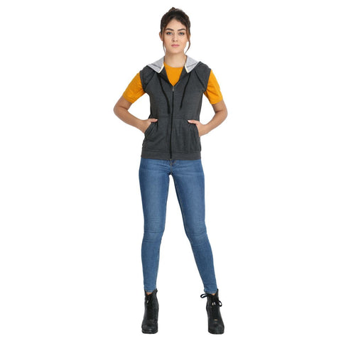 Model in TeeMoods Women's Sleeveless Dark Grey Sweatshirt