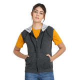 Relaxing in Teemoods Womens Fleece Sleeveless Dark Grey Hoodie with zip closed.