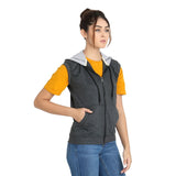 Side view of Teemoods Women's Sleeveless Dark Grey Hoodie