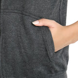 Pocket View of Teemoods Fleece Sleeveless Light Grey Sweatshirt for Women