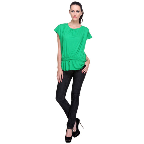 Short Sleeve Solid Green Women's Top