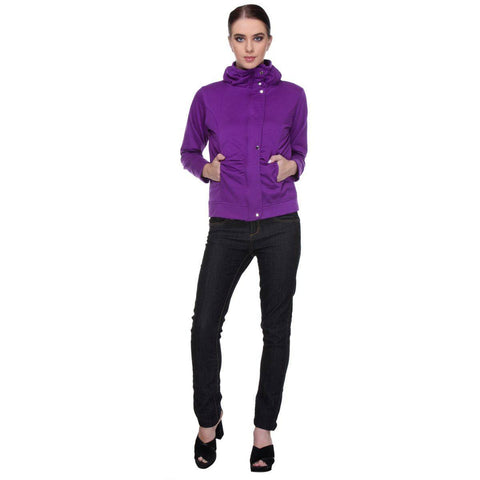 TeeMoods Stylish Purple Hooded Flap Zipper SweatShirt