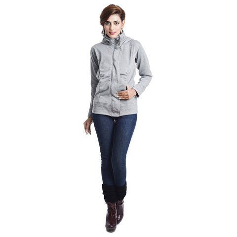 TeeMoods Melange Hooded Flap Zipper SweatShirt