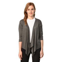 Teemoods Women's Cotton Grey Waterfall Shrug, Ladies Shrug with 3/4th sleeves