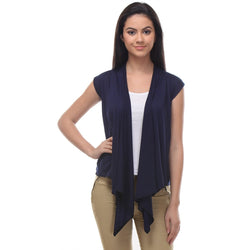 TeeMoods Sleeveless Navy Wrap Shrug-Front
