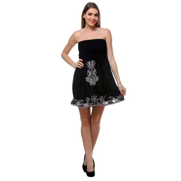 Womens Embroidered Black Tube Dress