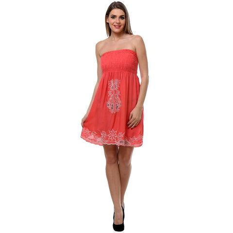 Womens Embroidered Coral Tube Dress