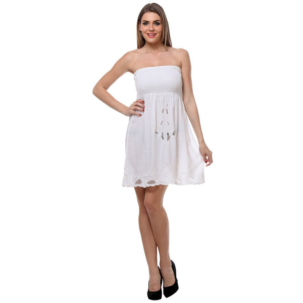 Womens Embroidered White Tube Dress