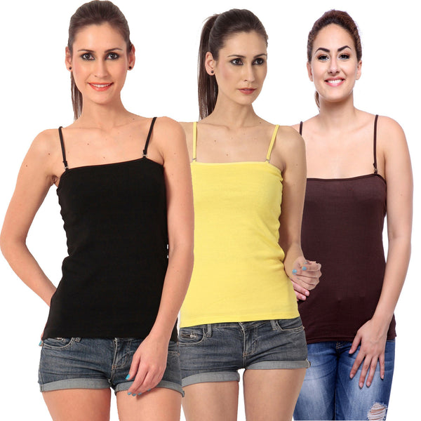 TeeMoods Women's Pack of Three Camisoles- Black, Brown and Yellow