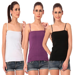 TeeMoods Women's Pack of Three Camisoles- Black, Purple n White