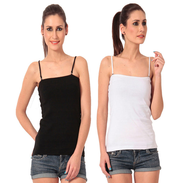 Pack of Black n White Camisoles, Spaghetti Strap Tank Top