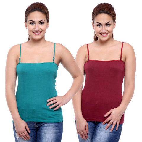 Pack of Blue n Maroon Camisoles, Spaghetti Strap Tank Top