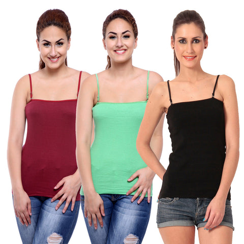 TeeMoods Women's Pack of Three Camisoles- Black, Green and Maroon