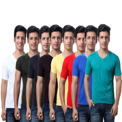 Super saver Pack of Eight Solid Men's V Neck T Shirts