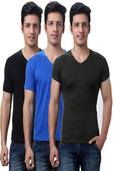 TeeMoods Solid Men's V Neck T Shirts  Pack of Two