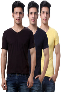 TeeMoods Solid Men's V Neck T Shirts  Pack of Three