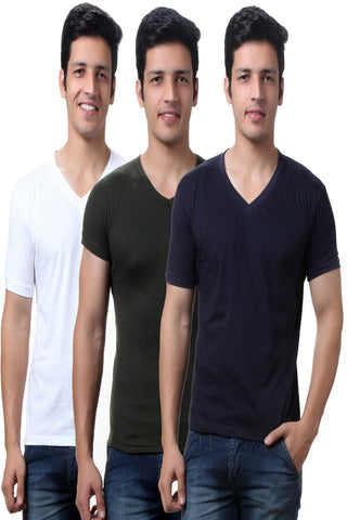Solid White, Dark Green and Navy Men's V Neck T Shirts -Pack of Three