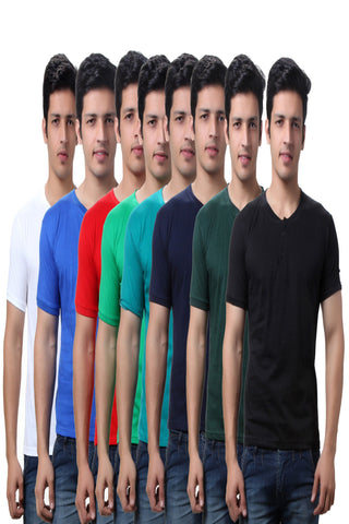 TeeMoods Super Saver Pack of  Eight Mens Henley T Shirts