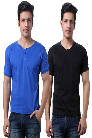 TeeMoods Solid Men's Henley T Shirts  Pack of Two