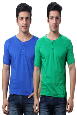 Solid Blue and Green Men's Henley T Shirts -Pack of Two