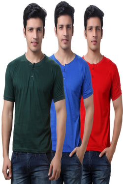 TeeMoods Solid Men's Henley T Shirts  Pack of Three