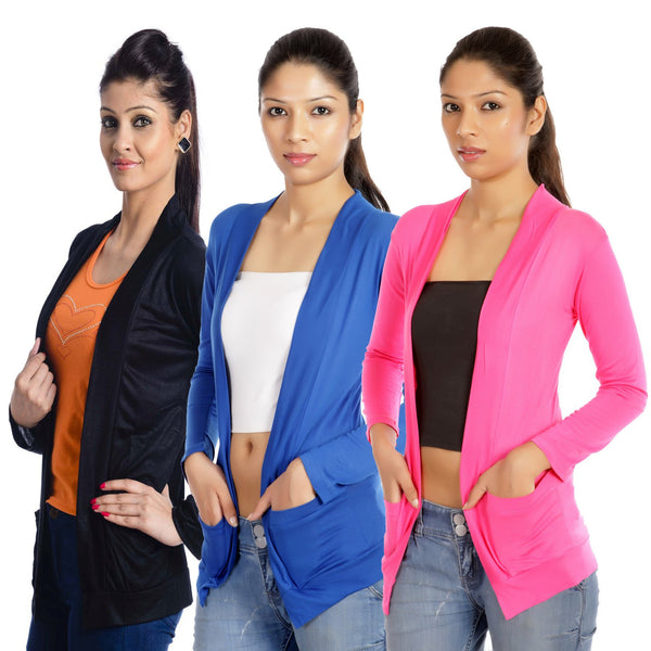 TeeMoods Set of three Black Blue Pink Full Sleeves Shrugs