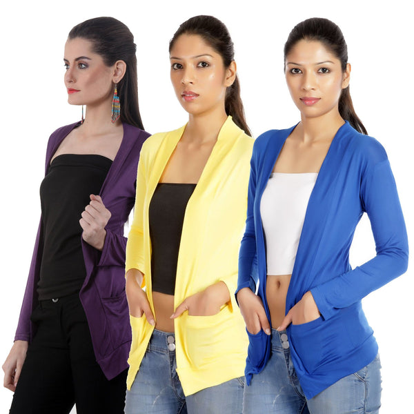 TeeMoods Set of three Royal Blue, Yellow and Deep Purple Full Sleeves Shrugs