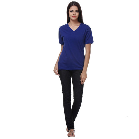 TeeMoods Blue Womens V Neck T Shirt Full Front View