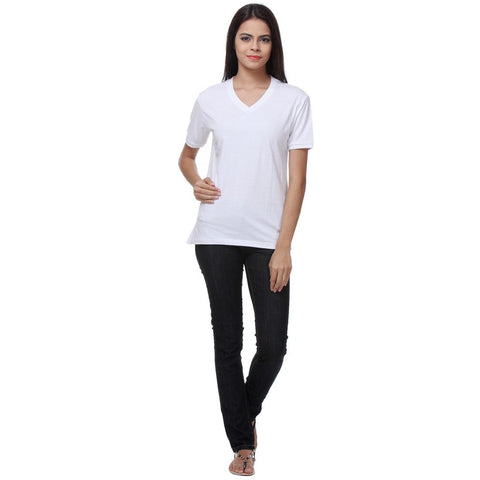 TeeMoods Basic White Womens V Neck Tshirt Full View