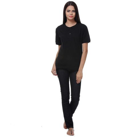 TeeMoods Basic Black Womens Henley Full View