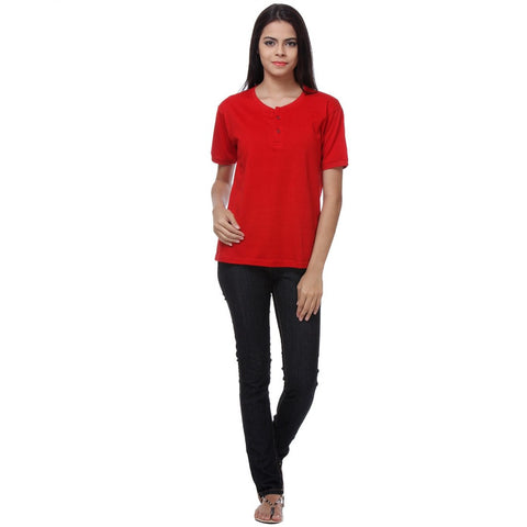 TeeMoods Basic Red Womens Henley Full Front View