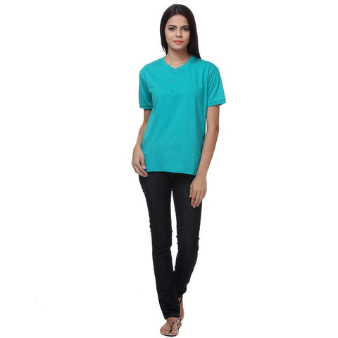 TeeMoods Sea Green Womens Henley Shirt-Full Front View