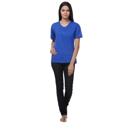 TeeMoods Basic Blue Womens Henley Full View