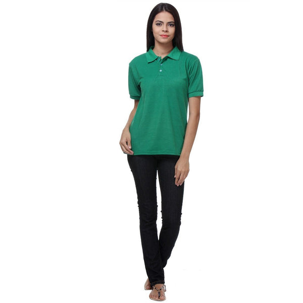 TeeMoods Green Womens Polo Shirt Full View