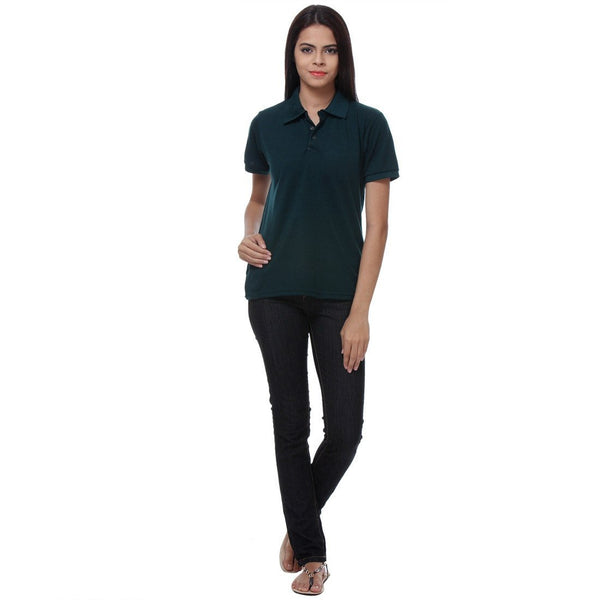 Buy TeeMoods Dark Green Womens Polo Shirt for Rs 349