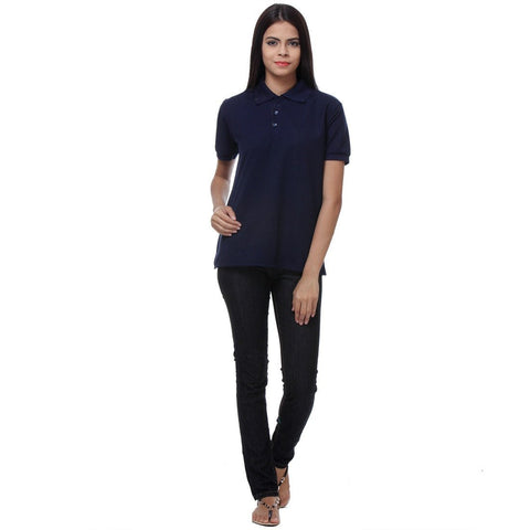 Buy TeeMoods Navy Womens Polo Shirt for Rs 349