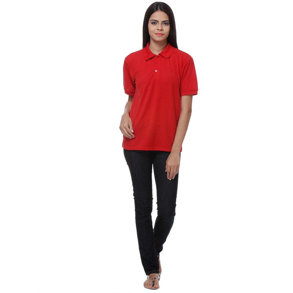 TeeMoods Red Womens Polo Shirt for Rs 349