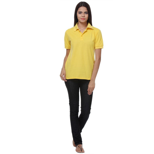 TeeMoods Yellow Womens Polo Shirt